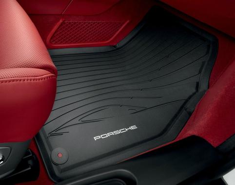 Black Waterproof Set of Two OEM Porsche Rubber Floor Mats 991 911 Carrera 2012