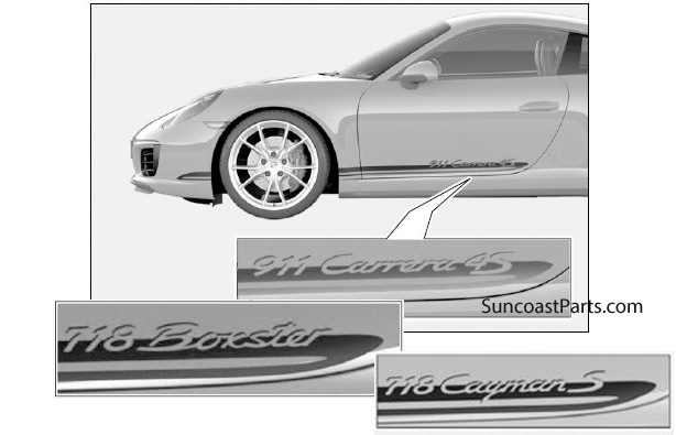 Suncoast Porsche Parts & Accessories Side Decal With Model Logo